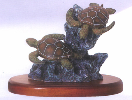 Duo Sea Turtle Sculpture