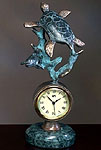 Sea turtle on Marble Base Clock