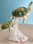 Playful Mother and Baby Turtles Sculpture