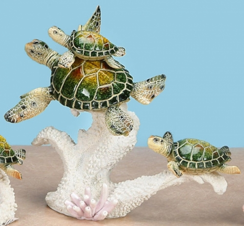 Playful Mother and Babies Turtles Sculpture