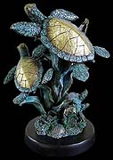Brass & Patina Duo Sea Turtles Sculpture
