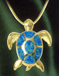 Opal Sea Turtle Pendant 14kt Gold Layered