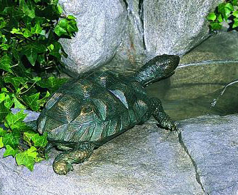 Verdigris Patina Finish Turtle Fountain