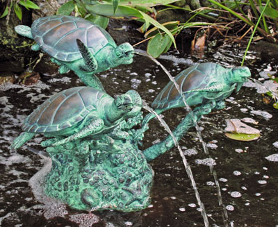 Trio Sea Turtle Fountain
